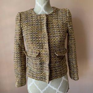 Gold tweed zip classic jacket